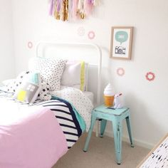 Pink and blue pastels for the sweetest girls bedroom.
