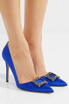 Heel measures approximately 100mm/ 4 inches Royal-blue satin Slip on Made in Italy