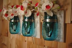 Wall Decor Anniversary Edition Blue Mason Jars on 3 stained or whitewashed wood boards rustic wall decor by PineknobsAndCrickets on Etsy https://www.etsy.com/listing/129882763/wall-decor-anniversary-edition-blue