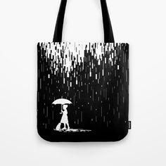 Pixel Rain Tote Bag by monosteven Womens Tote Bags, Rain, Reusable Tote Bags, Rain Fall, Waterfall