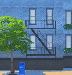 Retail sims fire escape 2t4 conversion at Black Cat Phoenix via Sims 4 Updates