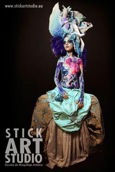 Escuela de maquillaje artístico Stick Art Studio.  Maquillej realizado por Alejandra Ortiz.  Barcelona, España.