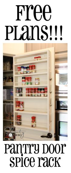 diy pantry door spice rack, cleaning tips, closet, storage ideas, DIY Spice Rack Spice Rack Pantry, Door Spice Rack, Spice Racks, Spice Storage, Storage Rack, Spice Shelf, Storage Shelving, Spice Rack Diy Plans, Hidden Storage