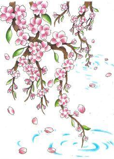 Znalezione obrazy dla zapytania japanese cherry blossom drawing