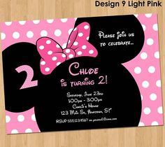 Minnie Mouse Invitation - Make their birthday special with this unique Birthday Party Invitation featuring Minnie Ears and Bow!!  This listing is for one digital invitation personalized with your even