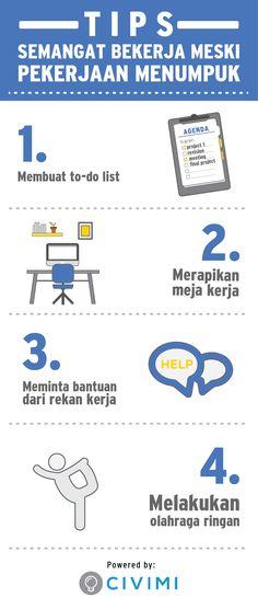 4 Tips Semangat Bekerja Meski Pekerjaan Menumpuk (Infographic)