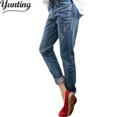 c1fb7f036141f Boyfriend Jeans For Women 2018 Summer Basic Styles Vintage Distressed  Regular Ripped Stretch Harem Denim Pants Woman Jeans