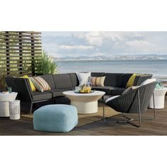 Morocco Charcoal Oval Lounge Chair with Cushion | Crate and Barrel