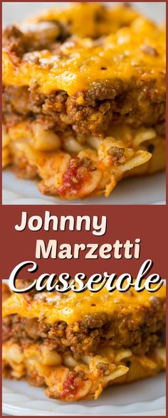 Johnny Marzetti Casserole, the classic Midwest dish that is the perfect comfort food! Recipe from @kitchenmagpie. #recipe #casserole #beef #noodles #cheese #baked #dinner #supper #family #meals