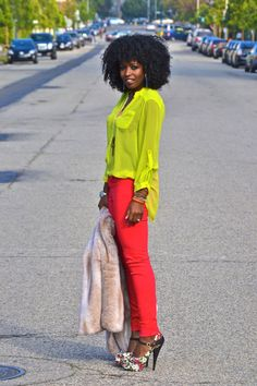 Lime Chiffon Blouse paired with red skinnies, and platform printed pumps.