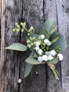Fresh greenery and baby's breath Boutineere wedding Floral Wedding Decorations, Wedding Flower Arrangements, Flower Decorations, Wedding Centerpieces, Wedding Bouquets, Wedding Flowers, Wedding Greenery, Bridesmaid Bouquets, Wedding Dresses