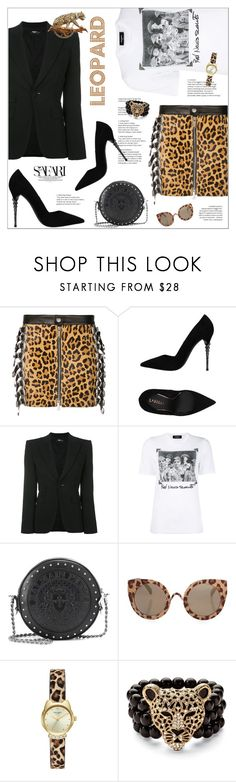 """Leopard Skirt"" by aysebt ❤ liked on Polyvore featuring Dsquared2, Le Silla, Balmain, Topshop and David Webb"