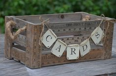 super cute idea for a card holder! vintage yard stick crate wedding