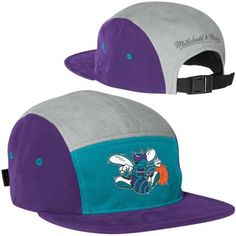 Mitchell   Ness Charlotte Hornets Color-Block Camper Adjustable Hat -  Teal Purple 65a58719b39