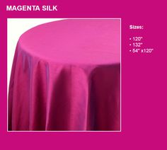 Magenta silk table linens. Warhol, Table Linens, Magenta, Celebration, Ottoman, Museum, Silk, Home Decor, Tablecloths