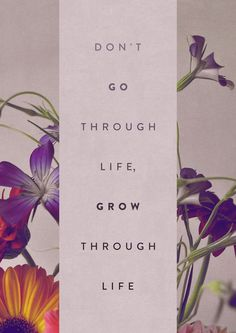 don't go through life, grow through life