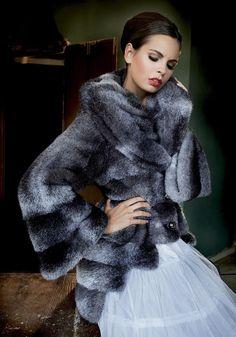Blue Dyed Cross Mink Fur Jacket