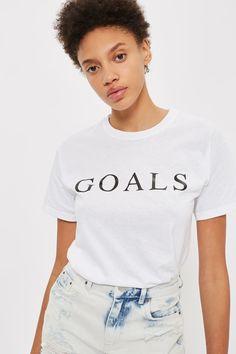 **Goals Slogan T-Shirt by Love - T-Shirts - Clothing - Topshop