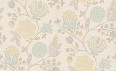 Bonita Trail (110005) - Harlequin Wallpapers - A pretty and detailed floral leaf trail in a stylized effect and lots of different flower designs showing in duck egg blue, green and grey on an off white background. Please request a sample for true colour match. Other colour ways available. Paste-the-wa