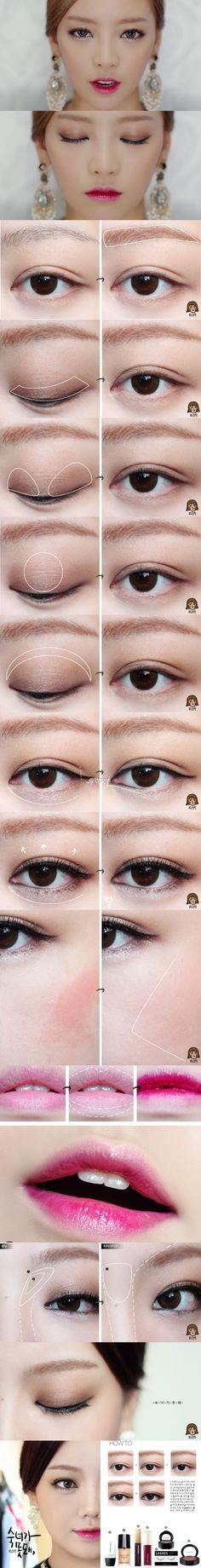 这个妆容最重点的4个Tips———— 1、略微上挑的眼线。 2、浓密的睫毛。 3、闪亮的眼头。 4、超级美丽的咬唇妆容。