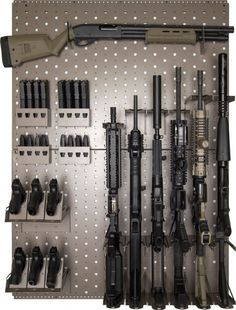 "Rhino Vault Gun Rack. Wayne: I don't even own ""a"" gun, let alone many guns, that would necessitate an entire rack. Gun Storage, Weapon Storage, Gun Closet, Closet Space, Shotguns, Gun Racks, Airsoft, Arma 3, Rifles"