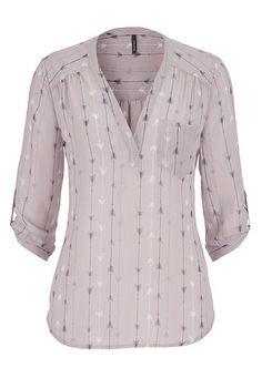 <ul><b>Overview</b><li>lightweight chiffon fabric</li><li>multicolor arrow print</li><li>needs layering</li><li>flattering roll tab sleeves</li><li>one pocket detail</li></ul><ul><b>Fabric and Care</b><li>Style Number: Plus Size Blouses, Plus Size Tops, Maurices Plus Size, Camisa Formal, Arrow Print, Stitch Fix Outfits, Blouse Patterns, Work Attire, Chiffon Tops