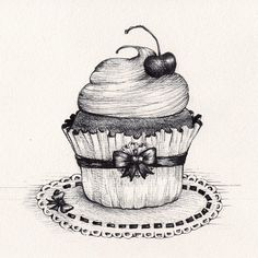 """Here's some sweetness to start this Monday off! ;) #DailyCupcake #madeleineink #penandink #drawingaday #art #cherry #cupcakes"""