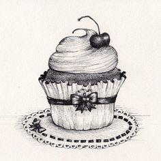 Cupcake by MadeleineInk. Printable monotone