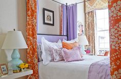 China Seas Lysette Reverse bed and Home Couture Persepolis curtains by Gwen Driscoll
