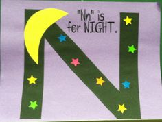 ABC craft: Nn for night. Add moon and stars to a black N.