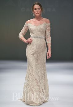 Eve of Milady - Fall 2014 - Style 101 Off-the-Shoulder Gold Lace Sheath Wedding Dress with 3/4 Sleeves  