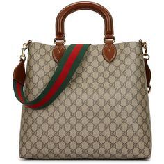 Gucci Linea A monogrammed tote ($1,360) ❤ liked on Polyvore featuring bags, handbags, tote bags, brown handbags, monogram tote, brown purse, gucci handbags and striped tote