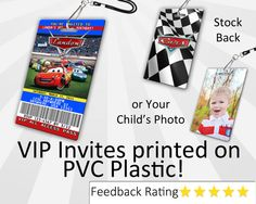 Cars Invitation - Your guests will be so excited to get their VIP Pass inviting them to your childs Cars party! Each VIP Pass Invitations are