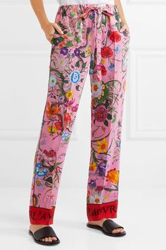 Gucci - Printed Silk Crepe De Chine Wide-leg Pants - Pink - IT42