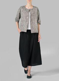 Two Tone B/W Linen Open Front Jacket Set