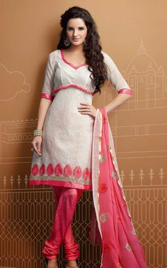 GREY & GREEN CHANDERI COTTON SALWAR KAMEEZ - RUD 43010B | Chanderi ...