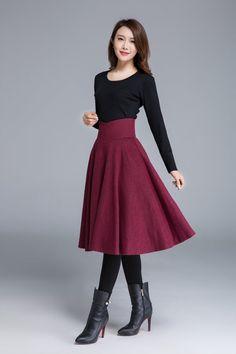 wine red skirt wool skirt pleated skirt knee length by xiaolizi - Faldas de lana - Fall Skirts, Red Skirts, Casual Skirts, Cute Skirts, Skirts For Winter, Jupe Swing, Swing Skirt, Pleated Skirts Knee Length, High Waisted Skirt