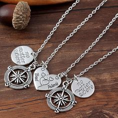 No Matter Where Compass Best Friend Necklace Set