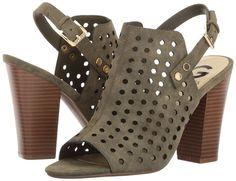 G by GUESS Jrake2. Open toe. Stacked heel. Adjustable buckle.   Only $22.99. That's a great price. #affiliate