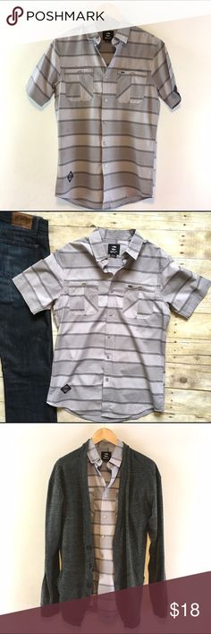 "Men's Split gray striped short sleeve button down Monotone stripes. Two front pockets. Cool slim fit. In excellent condition. Cotton. 27.5""L. 19"" chest laying flat. Size Small. *BDG gray cardigan and Paige jeans pictured are also for sale in my closet, bundle and save! Split Shirts Casual Button Down Shirts"