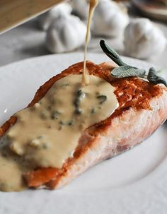 pan-crisped salmon with light dijon cream and garlic butter breadcrumbs from how sweet it is.