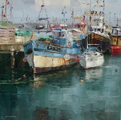 Rex PRESTON artist, paintings and art at the Red Rag British Art Gallery Watercolor Landscape, Abstract Landscape, Landscape Paintings, Infinity Art, Seascape Art, Boat Art, Boat Painting, Environment Concept Art, Traditional Paintings