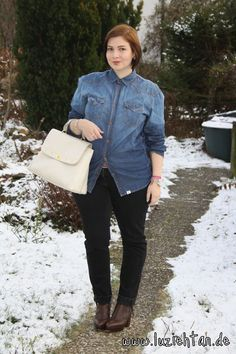 08.12.12 - wearing: Tom Tailor jeans shirt, Primark jeans, Acne Track Boots, MCM bag, SIX earrings, Sal y Limon arm cuff, Spinning Jewelry ring and Michael Kors watch