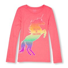 251f06a52413b Girls Long Sleeve Glitter 'Believe In Unicorns' Neon Graphic Tee Size 14,  Type