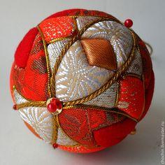Новый год 2015 ручной работы. Ярмарка Мастеров - ручная работа Красные цветы Эдо - елочный шар коллекционный кимекоми кимэкоми. Handmade.