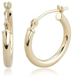 """Duragold 14k Yellow Gold 2mm Round Hoop Earrings, (0.59"""" Dia"""
