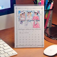 """2013 Desk Calendar  This adorable 5""""x7"""" framed calendar brightens any home or office with original and unique artwork. From month to month and painting to painting you'll never feel dreary when you have this calendar in your space."""