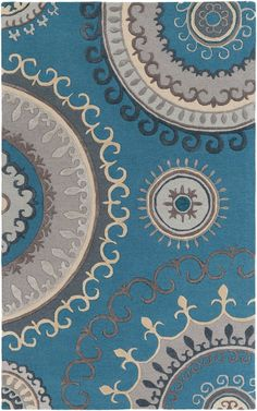 Lounge LGE-2239 Teal/Grey Contemporary Rug