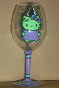 Hello Kitty Bride of Frankenstein Halloween wine glass