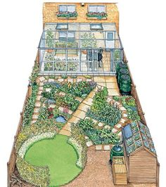 """The eco-fit yard after picture.  I love that they call rain barrels """"water butts"""""""